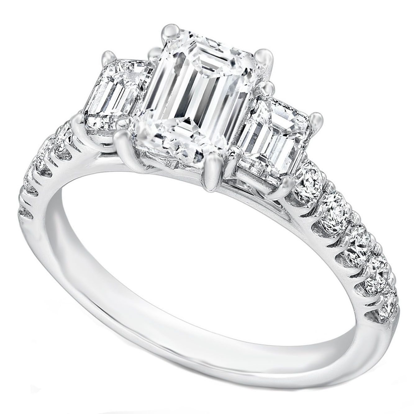 Engagement Ring  Three Stone Emerald Cut Diamond Cathedral Engagement Ring  Pave Band In 14k White