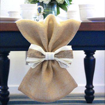 Burlap Table Runner With Bow Cloth Centerpiece Wedding Decor