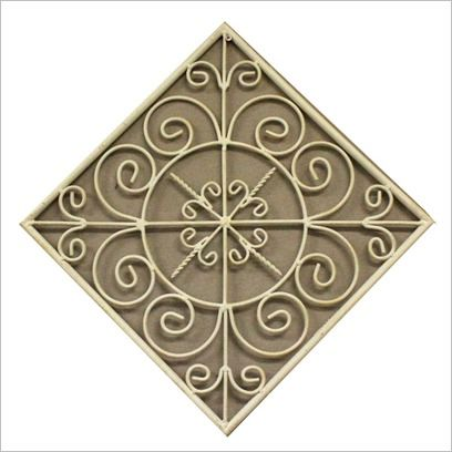 Metal Square Wall Plaque in Cream by Cooper
