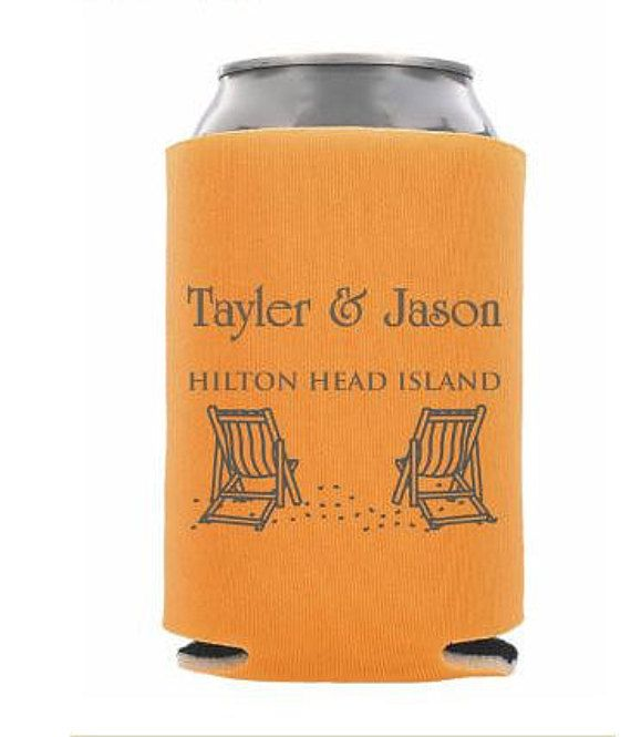 Beach Wedding Can Coolers wedding favors by yellowLeMoNdesign