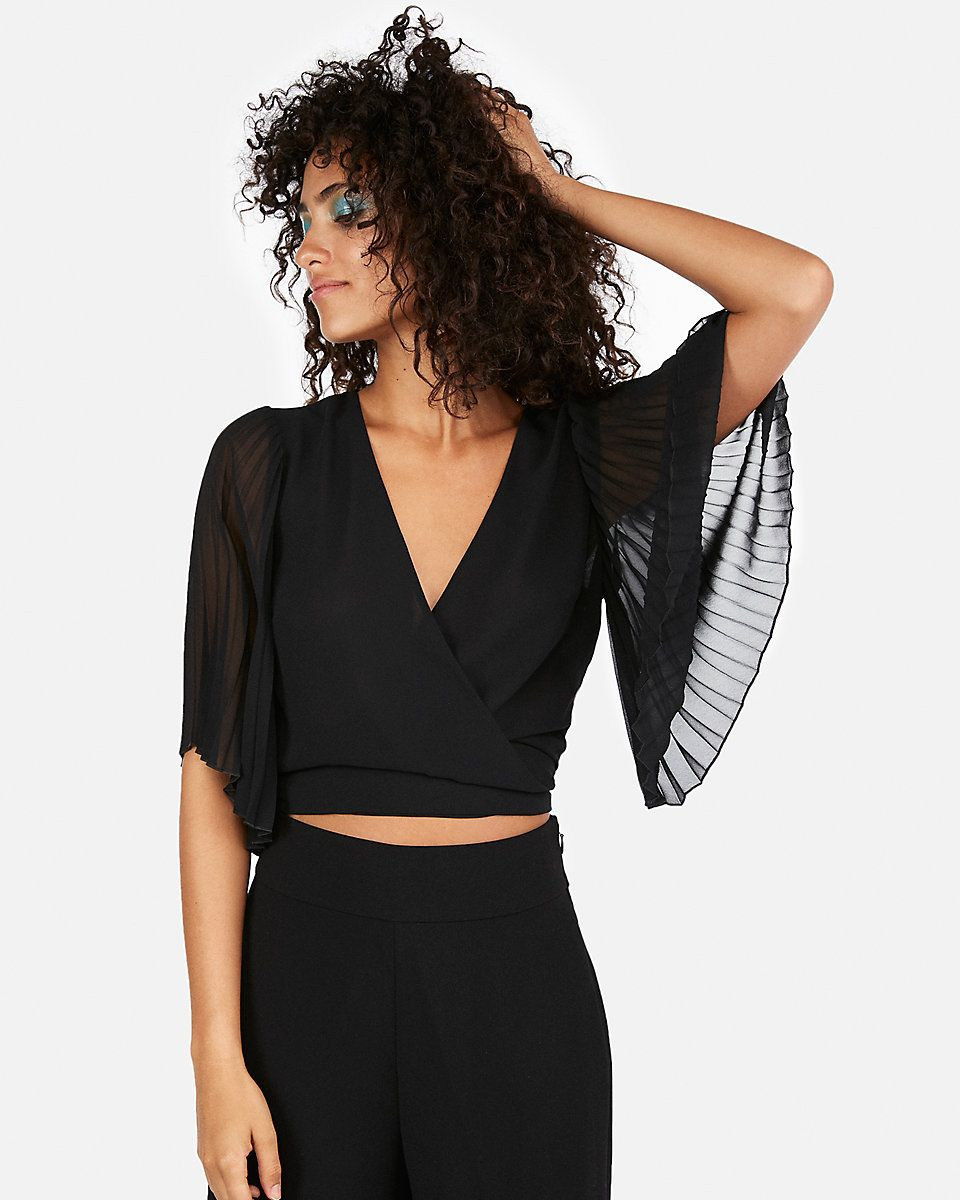 5a9c9620fc84 Pleated Kimono-Sleeve Top | Top Pinned in 2019 | Tops, Black going ...
