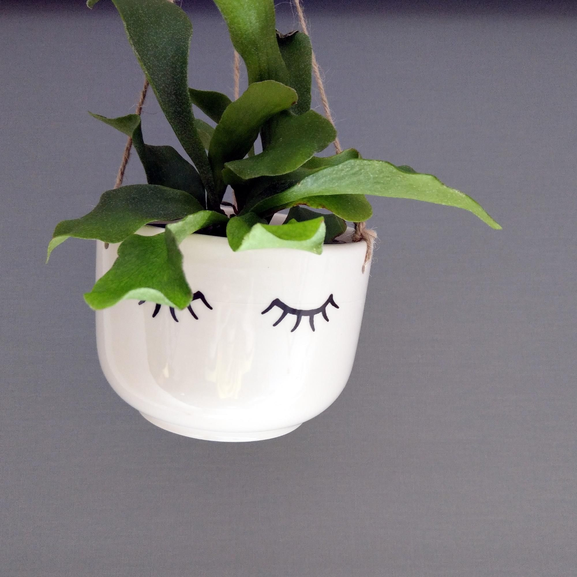 Sass & Belle Eyes Shut Tired Eyes Hanging Plant Pot