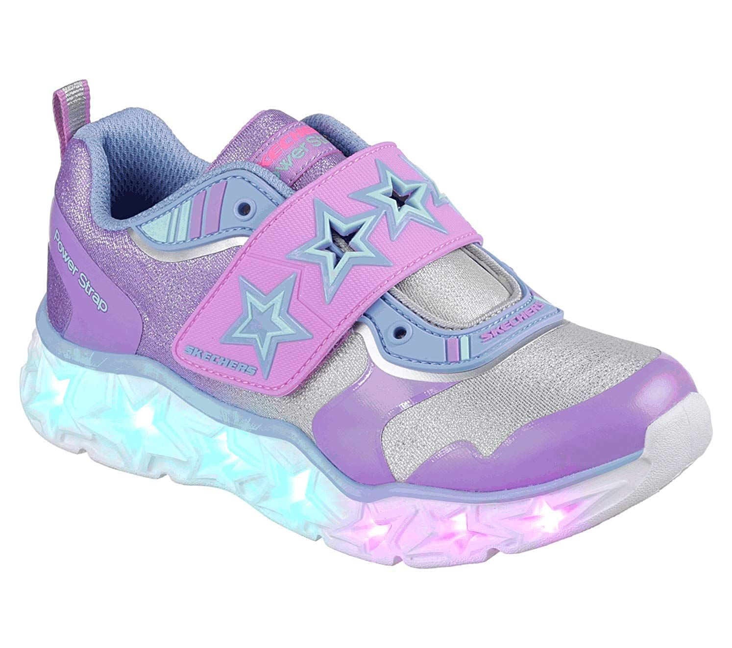 Skechers Kids Girls' Glimmer Kicks Sneaker, PinkMulti, 1 Medium US Little Kid