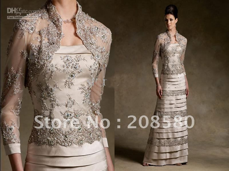Champagne beaded long sleeve mother of the bride dresses gowns ...