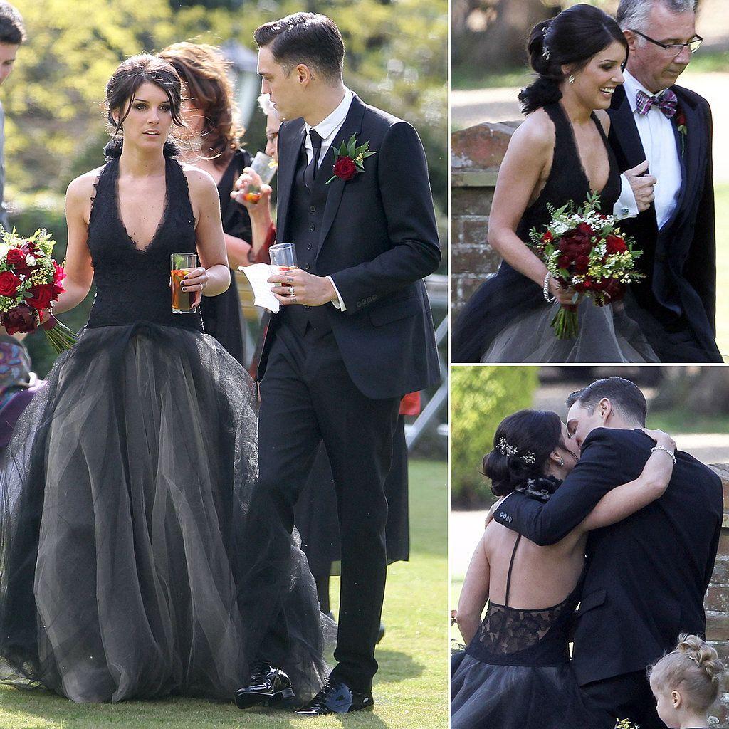 Shenae Grimes Marries In A Black Dress Black Wedding Dresses White Wedding Dresses Gothic Wedding Dress