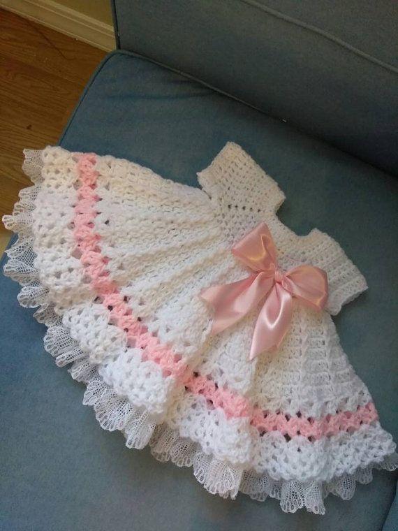 Vestido De Bebé Rosa Y Blanco Con Volantes De Por