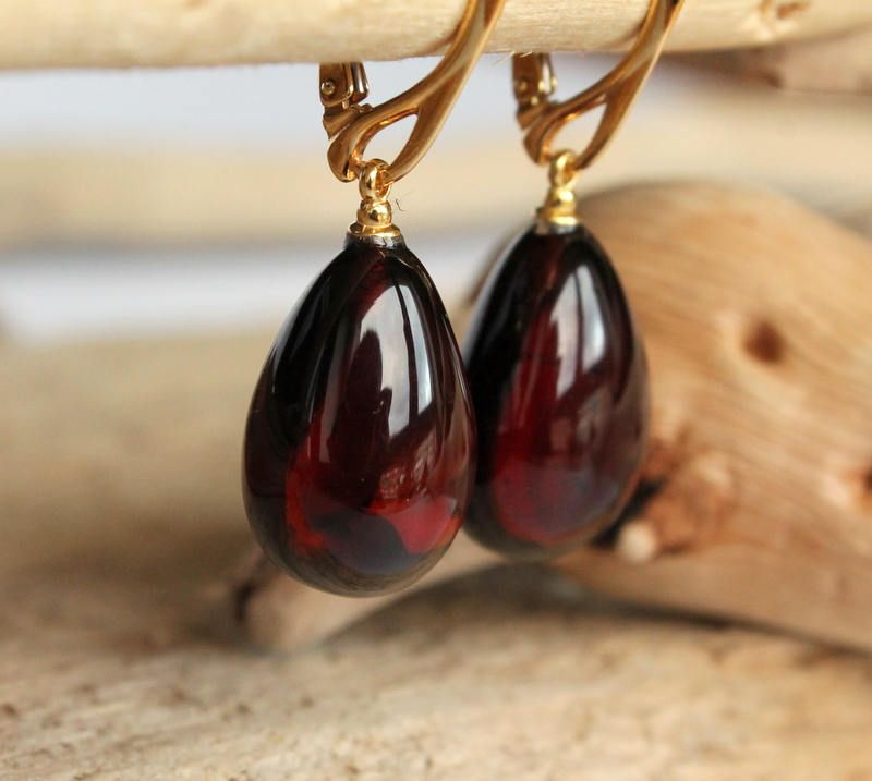 Cherry Amber Earrings Dangle Teardrop Natural Baltic Jewelry Dark Red