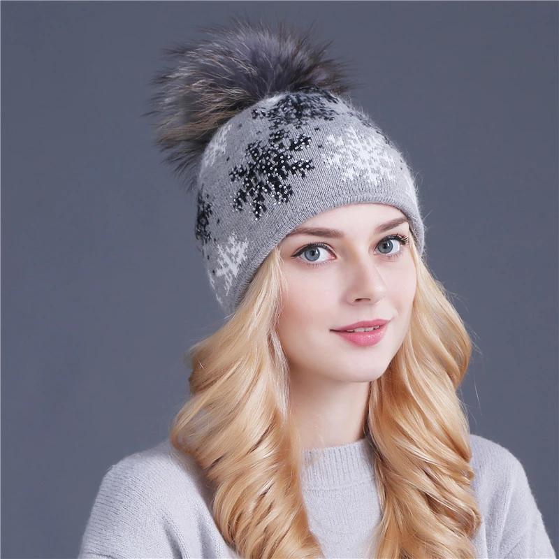 Mode Frauen Beanie Echtes Kaninchenfell Gestrickte Wolle Pompon Wintermütze   – вязание