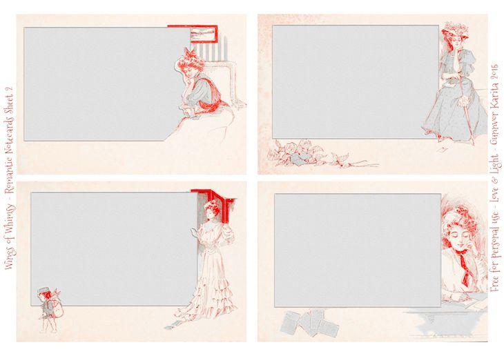 Wings of Whimsy: Set of 12 Romantic Notecards - Sheet No 2 of 3 #freebie #printable #vintage #ephemera #notecard# romantic