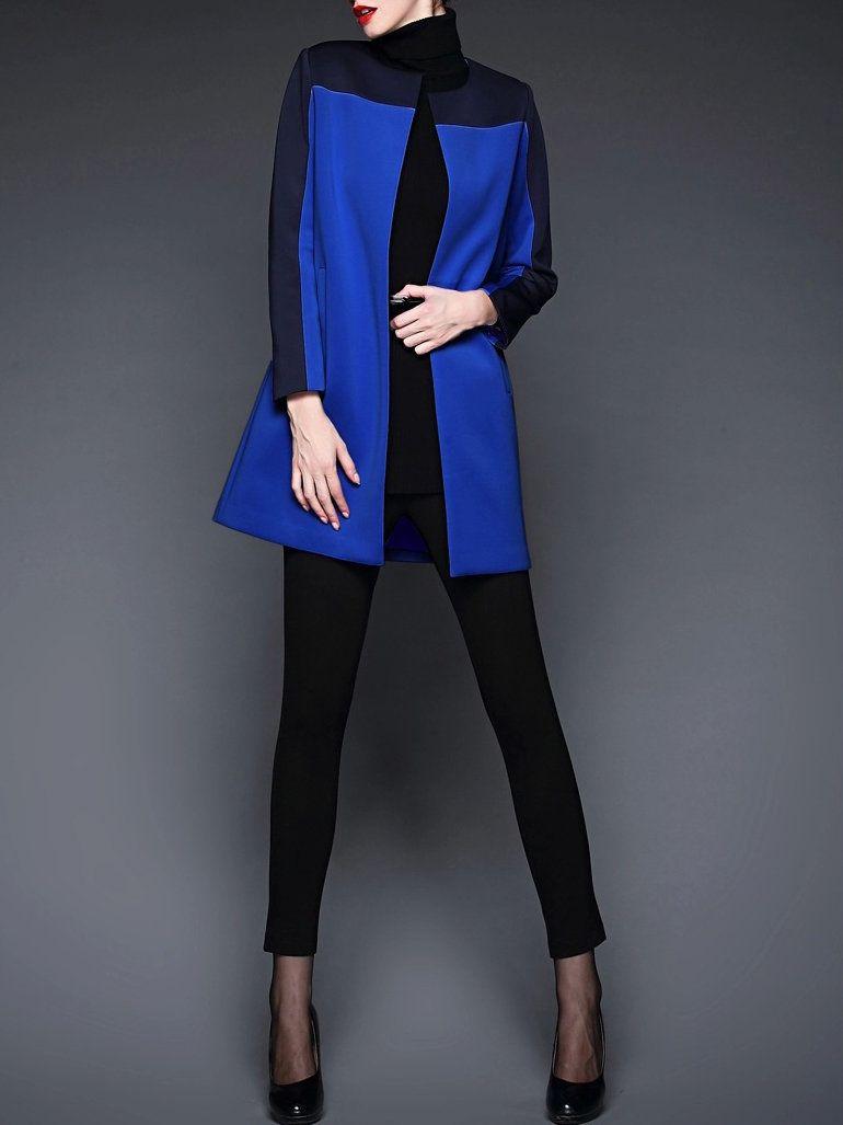 #AdoreWe GYALWANA Polyester Casual Color-block Long Sleeve Coat - AdoreWe.com