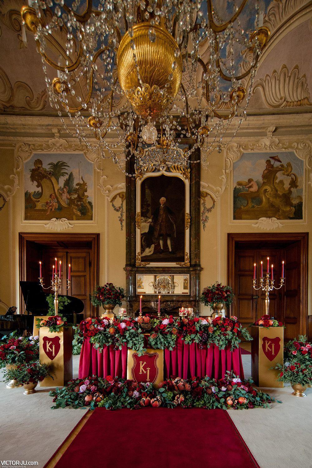 Royal Style Golden Red Wedding Decor