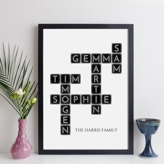 Family Crossword Custom Family Print Family Tree
