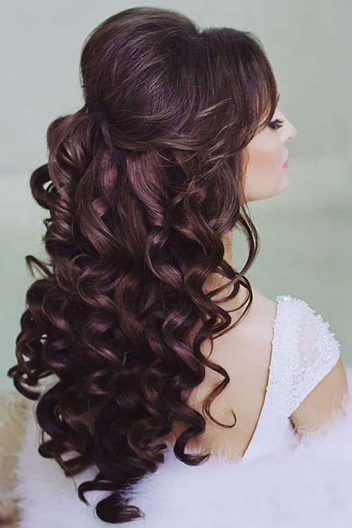 Long Curly Hair Half Updos