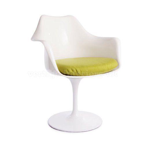 Amazon.com - 2 X * Highest Quality * Saarinen Style Tulip Dining Arm Chair Set - White Chair, Green Cushion