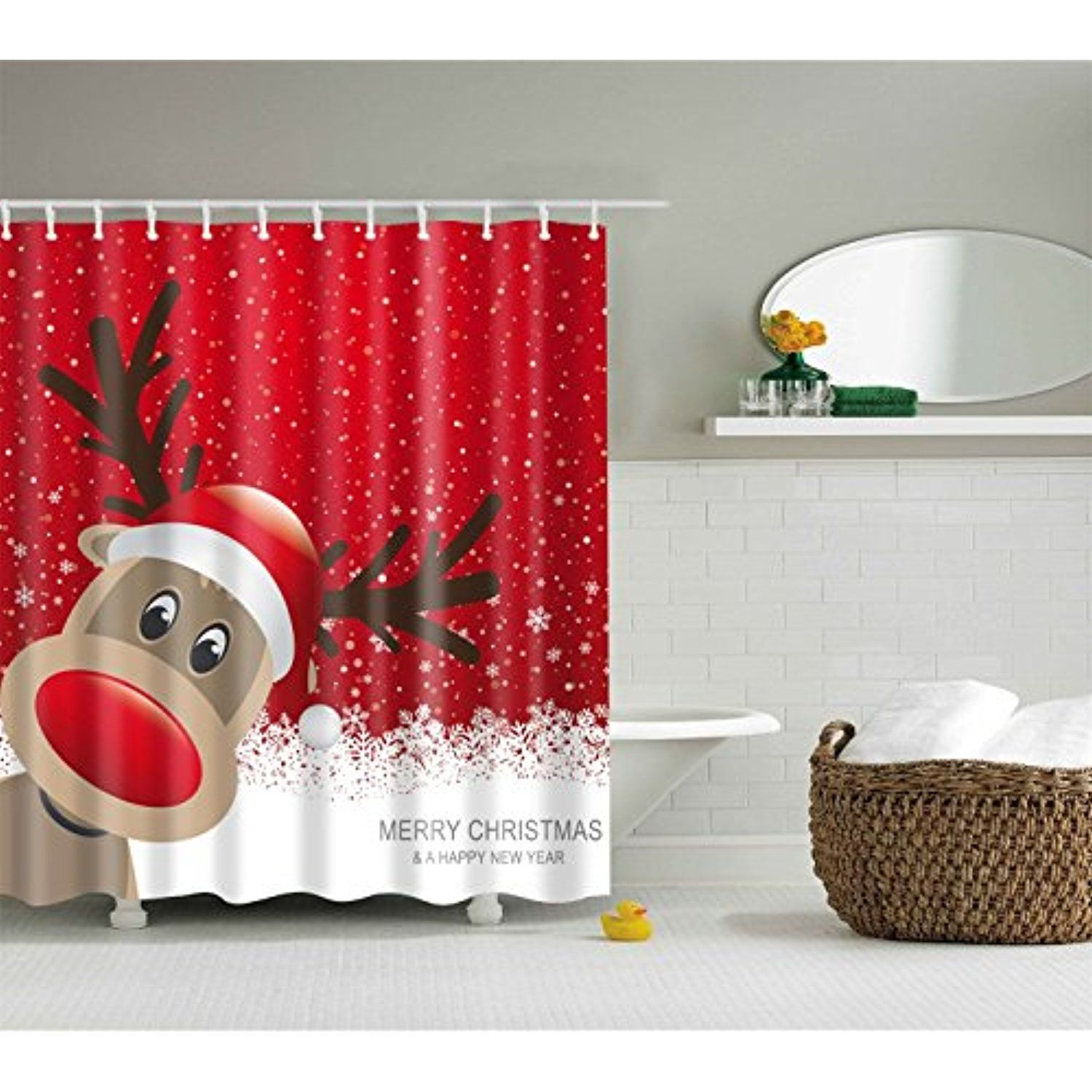 Merry Christmas Bathroom Shower Curtain Decor Art Prints