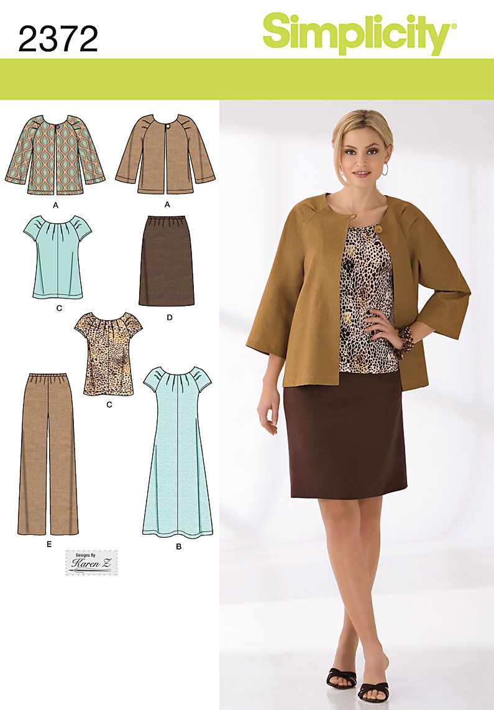 2372 Women\'s jacket, dress or skirt Sewing Pattern Simplicity ...