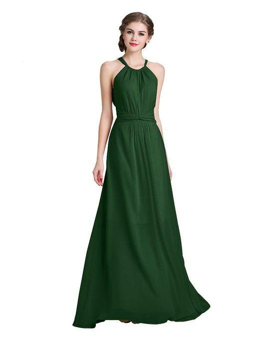 Denovelty women Halter Evening Prom Formal Party Bridesmaid Maxi Long Dress,Medium,Green