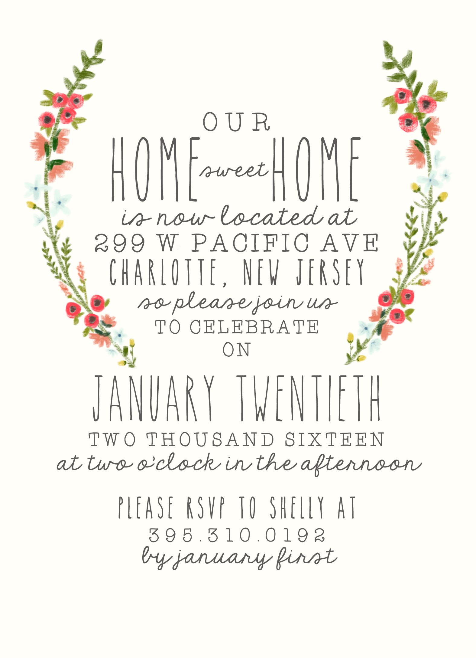 Housewarming Party Invitation Watercolor Laurel Rustic Boho