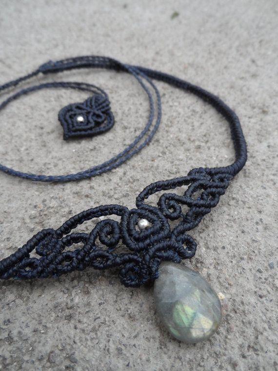 Labradorit Macrame Halsband Choker & Tiara Stein von LaQuetzal