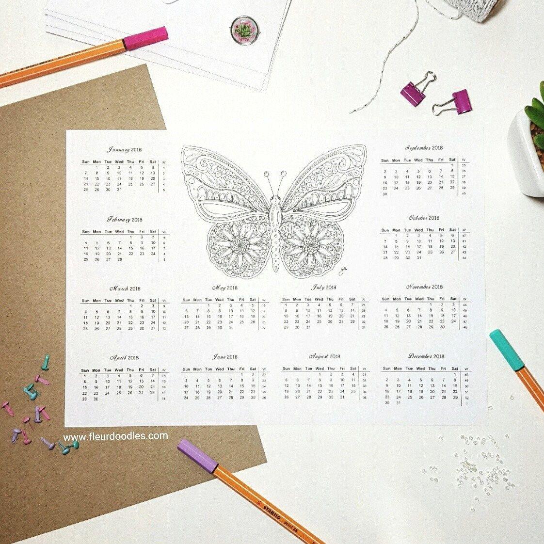 Kalender 2018 zum Ausmalen + passende Malseite - Schmetterling ...