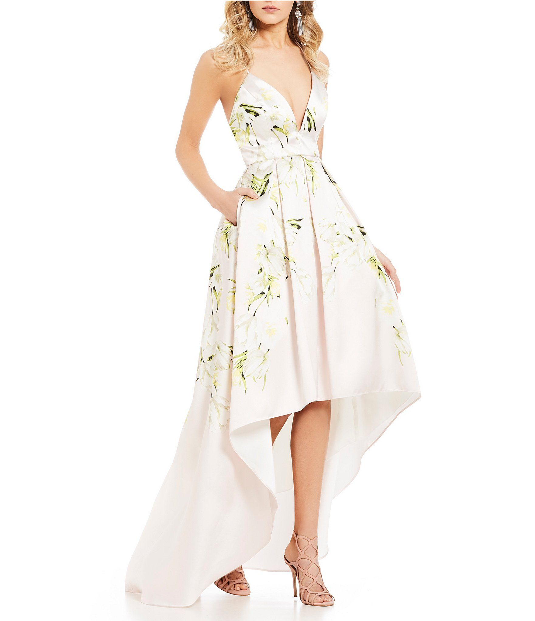 Jump Tulip Floral Print High-Low Ball Gown | Dillards, Ball gowns ...