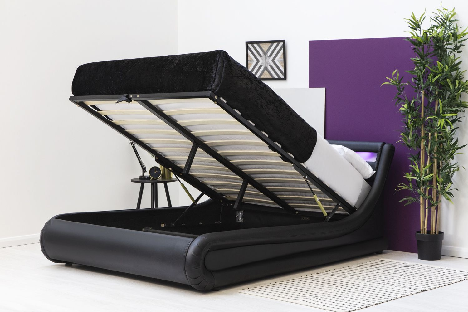 Barcelona Black LED Lift Up Ottoman Storage Low Modern Bed