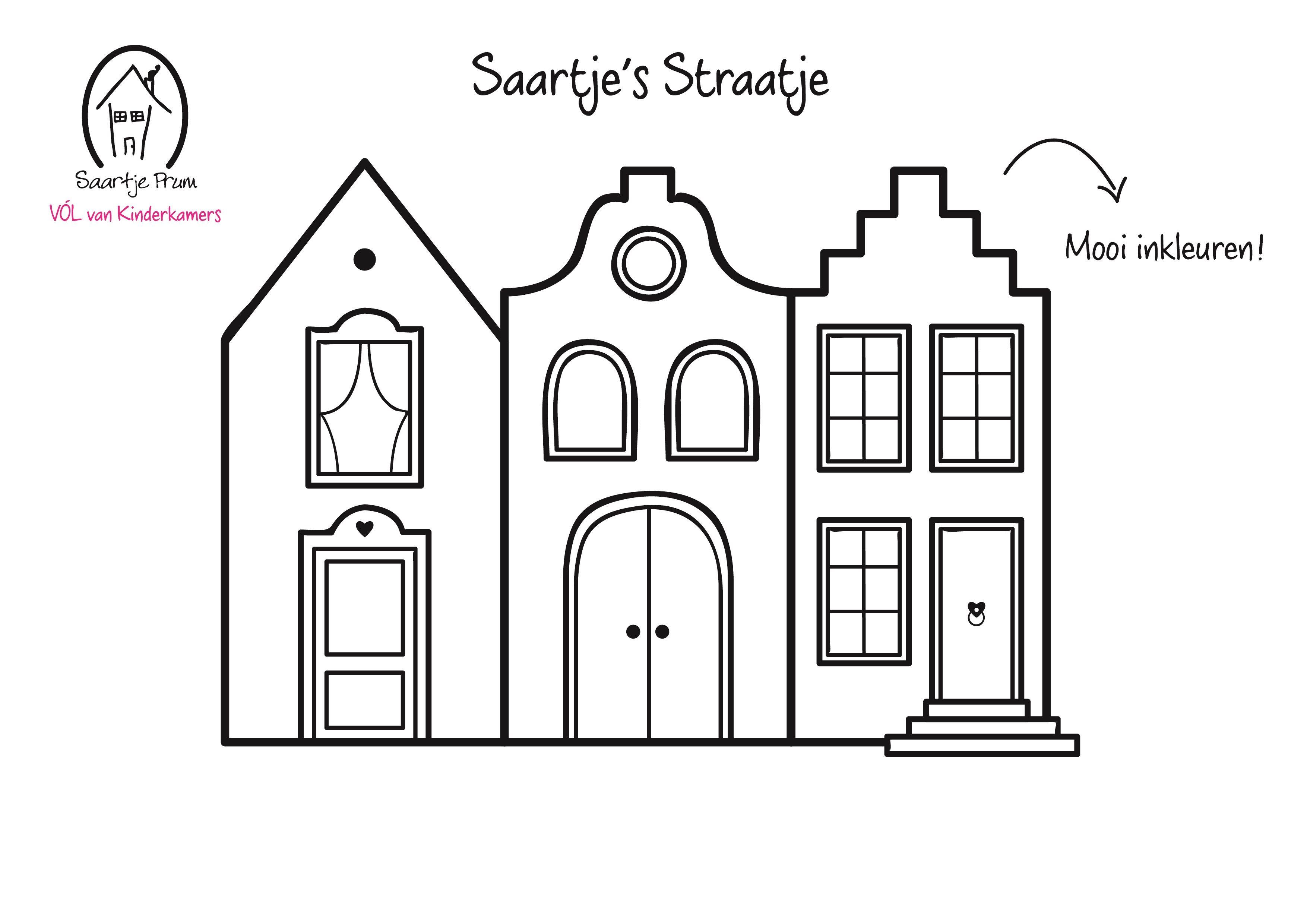 Leuke kleurplaat knutselen pinterest sinterklaas for Huizen tekenen
