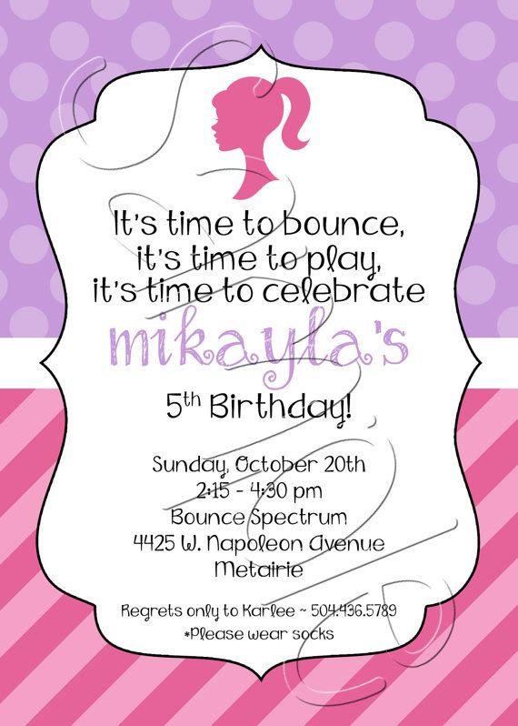 Printable Pink Purple Barbie Birthday Party Invitation Ideas For