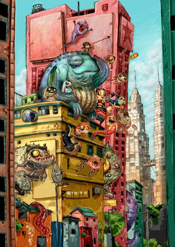 monsters in the city colorful nightmare illustration art drawing creative creatures