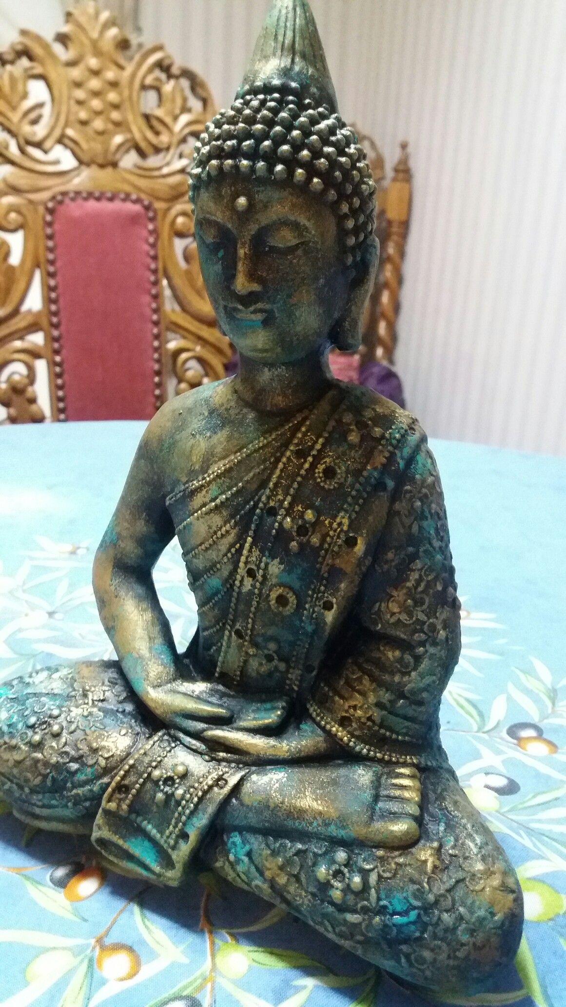Buda pintado efecto oxidado budha buda pintado buda y pintar - Figuras buda decoracion ...