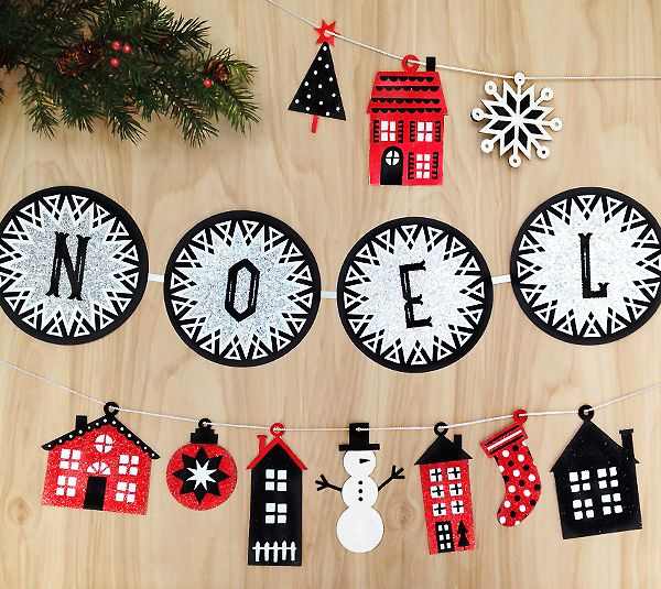 Noel Christmas Village Garland by Rob & Bob. Make It Now in Cricut Design Space