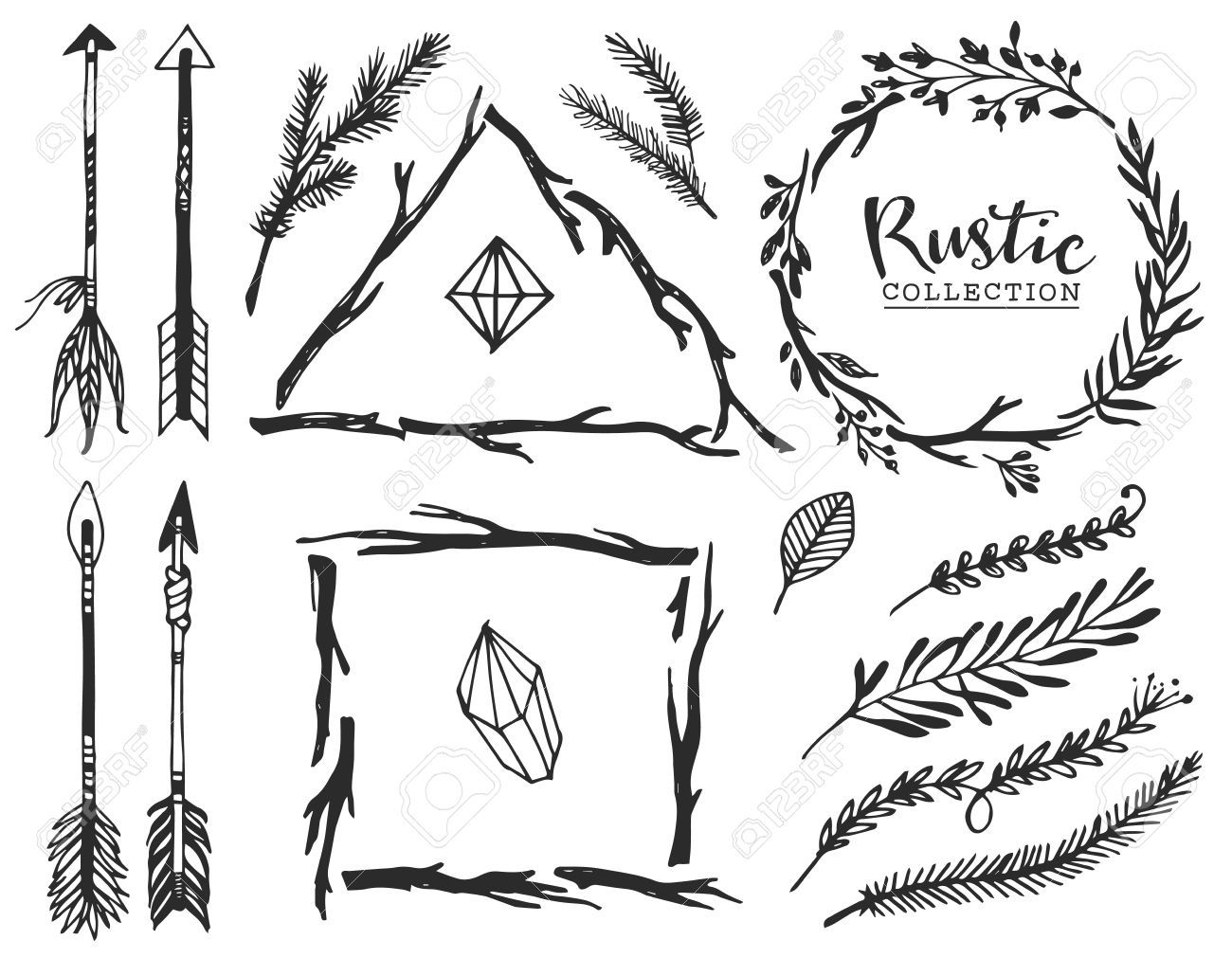 40000133 rustic decorative elements with arrow and lettering