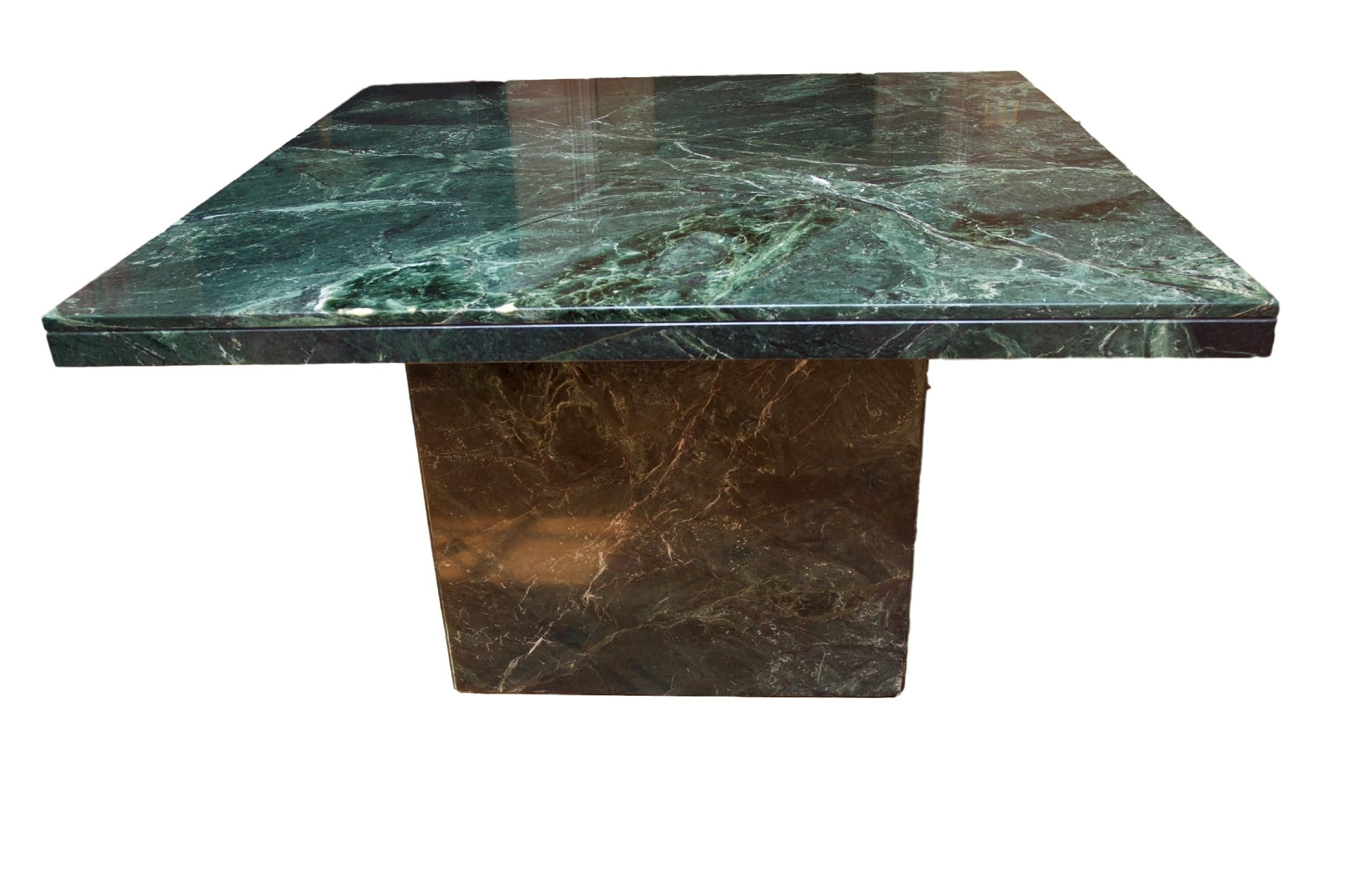 Modern Square Green Marble Dining Table On A Square Pedestal