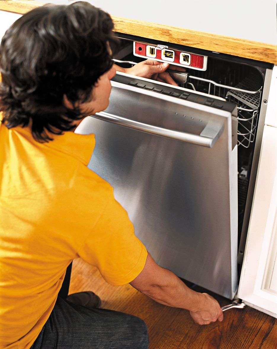 Adjust the front feet of the dishwasher until the mounting brackets touch the underside of the & How to Install a Dishwasher | Mounting brackets Dishwashers and Doors