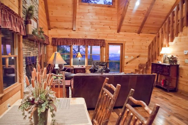 Gorgeous sunset views from most rooms in the A Bears Lair! Great rental to gather for the holidays www.mtngetawaycabins.com