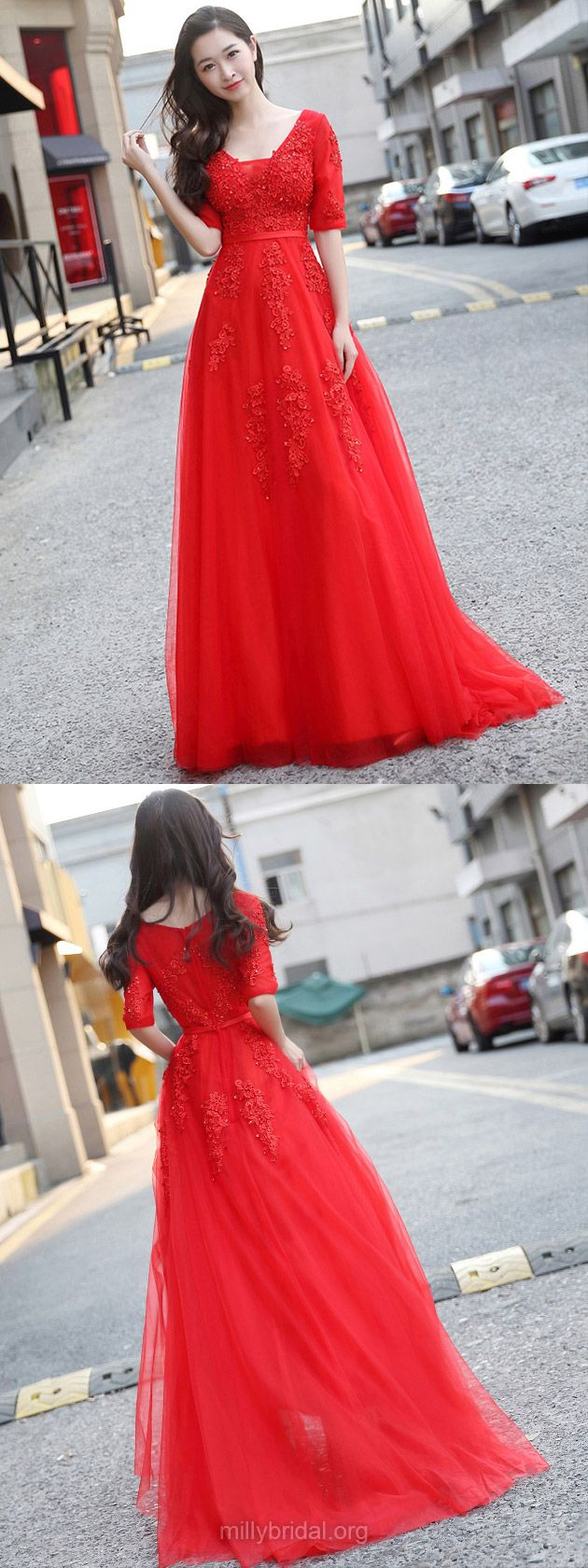 Princess prom dresses red prom gowns vnecklong party dresses