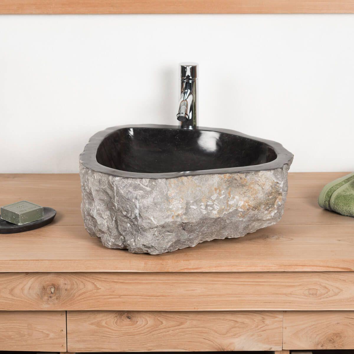 Salle De Bain Ekolux ~ grande vasque de salle de bain poser roc en marbre noir