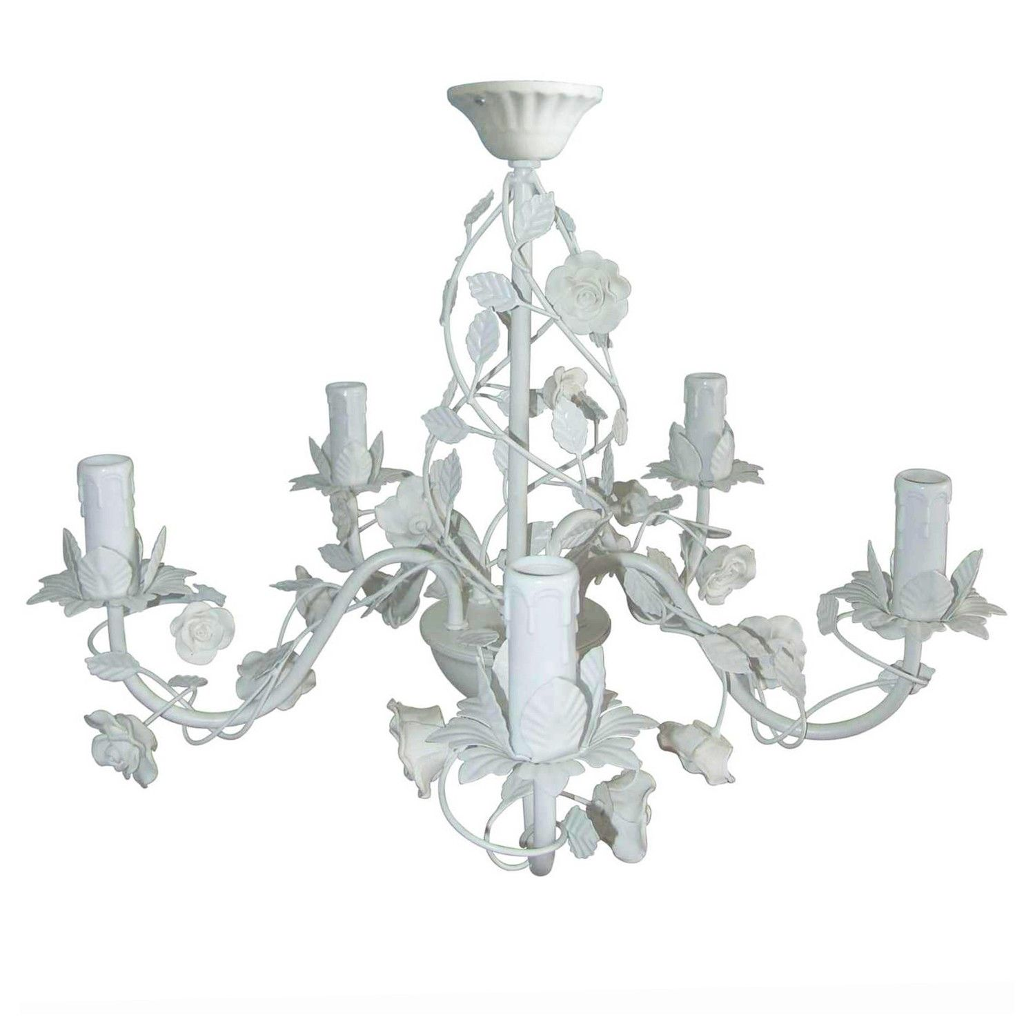 This cream rose 5 arm chandelier is a beautiful light fixture in this cream rose 5 arm chandelier is a beautiful light fixture in bright white which features arubaitofo Choice Image