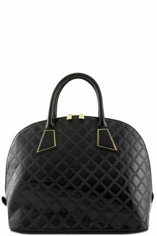 Quilted Pattern Designer Top Handle Bag