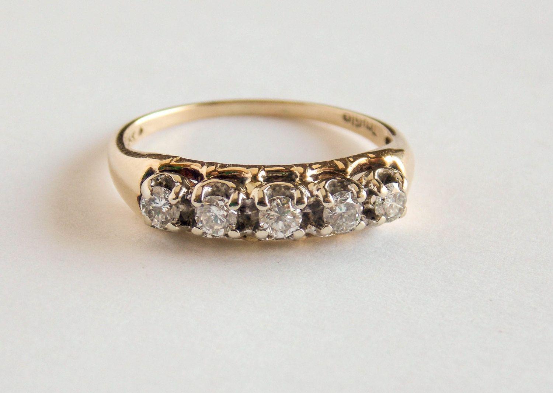 1980 S 14k Yellow Gold Diamond Band By Victoriavvintage On Etsy Gold Diamond Band Diamond Bands Vintage Fine Jewelry