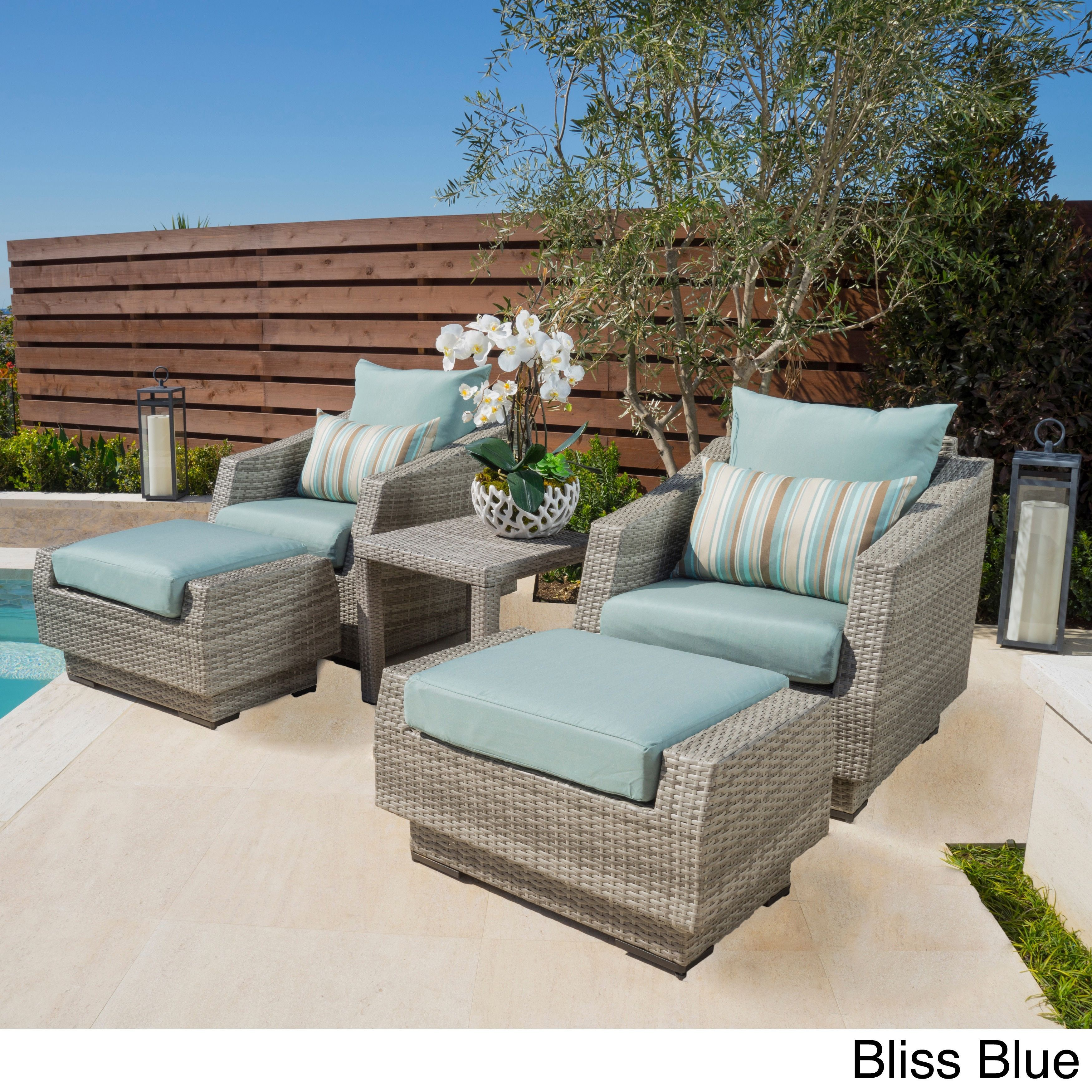 Rst Brands Cannes 5 Piece Club Chair Ottomans And Side