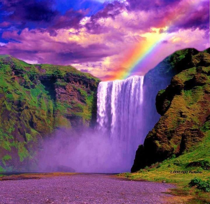Rainbow Over Waterfall Real Or Not With Images Waterfall