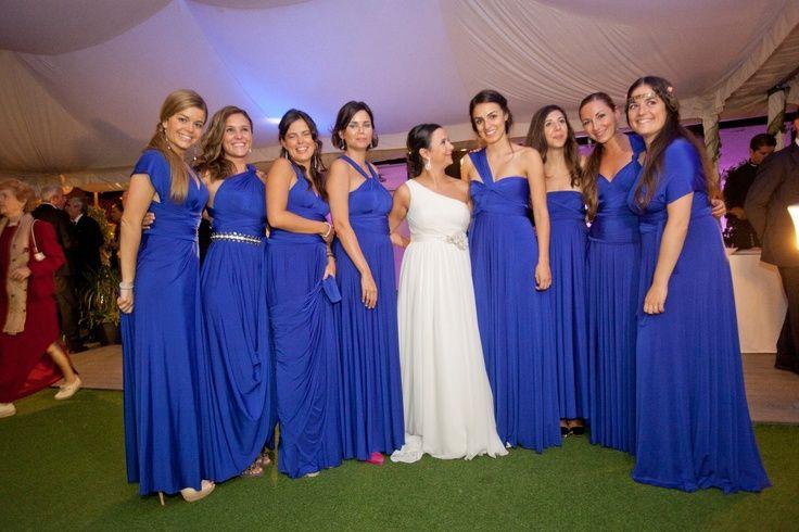 Vestido azul rey para dama de honor