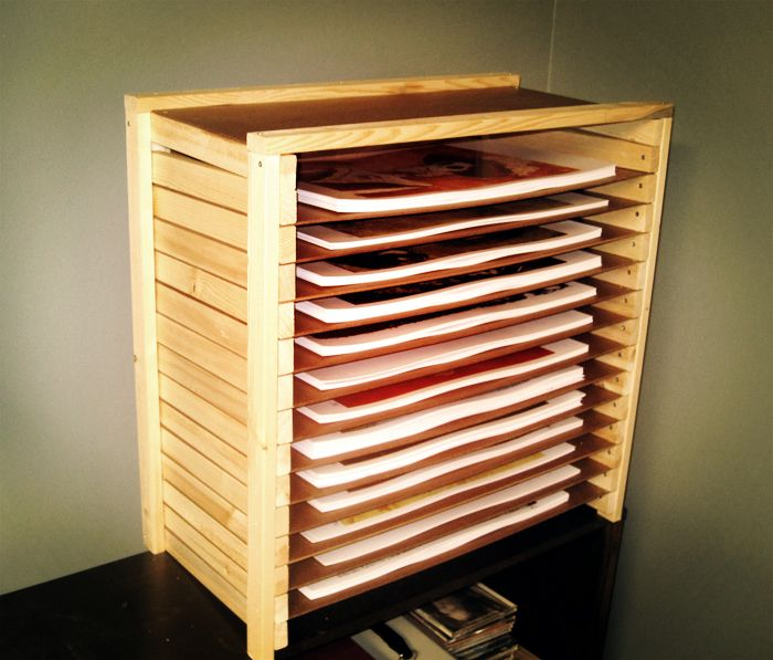 Sure I Could Have Spent A Grand On A Big Flat File That Would Have Conveniently Doubled As A Work Table This One Art Studio Storage Paper Storage Flat Files