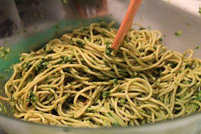 Whole wheat spaghetti, spinach + cilantro pesto
