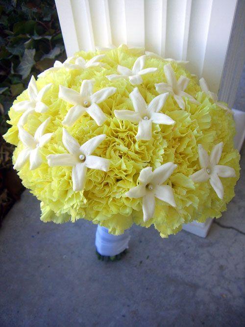 Yellow carnation bouquet with stephanotis bouquets pinterest flower bouquets yellow carnation mightylinksfo
