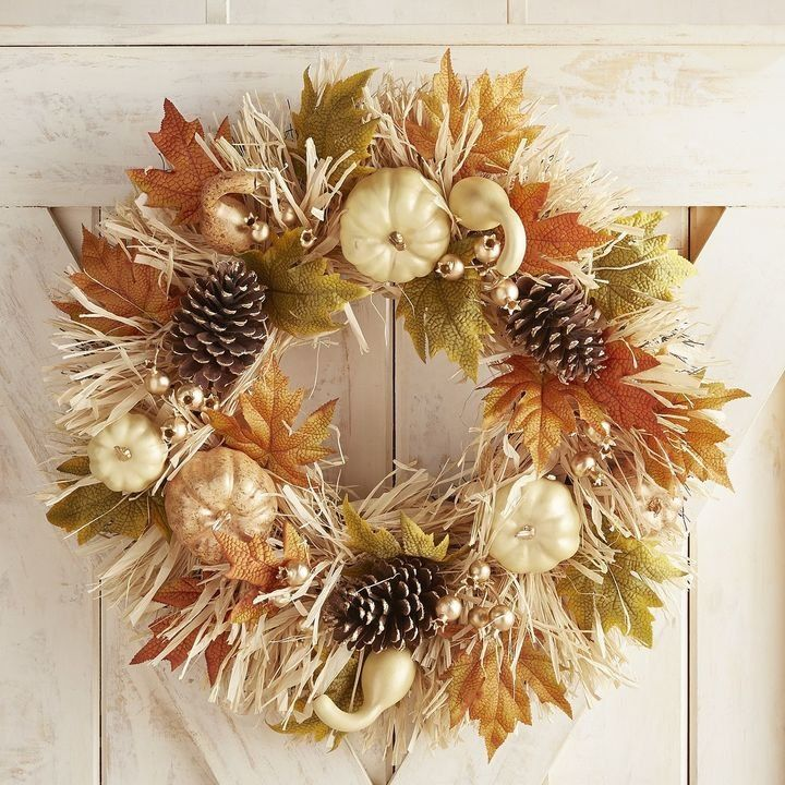 Pier Imports Pumpkin Amp Raffia Wreath Fall Halloween Decor