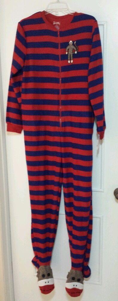 0d651439888c Nick   Nora Sock Monkey Footed Footie Pajamas Fleece Adult Small ...