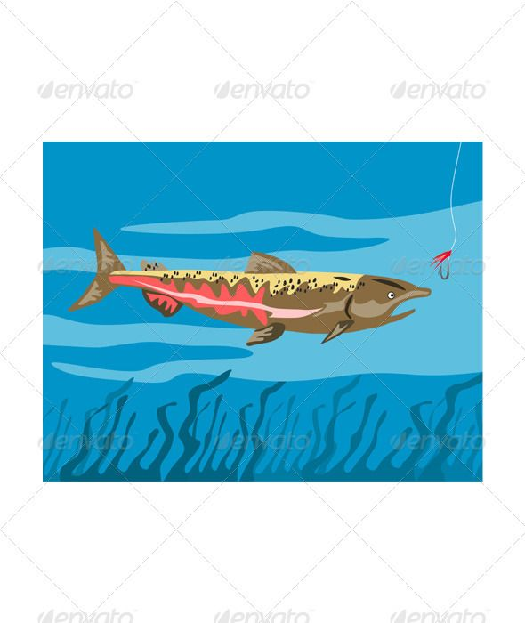 Trout Fish Retro  #GraphicRiver         Illustration of a trout fish done in retro style     Created: 1November12 GraphicsFilesIncluded: JPGImage #VectorEPS Layered: No MinimumAdobeCSVersion: CS Tags: a #done #fish #illustration #in #of #retro #style #trout