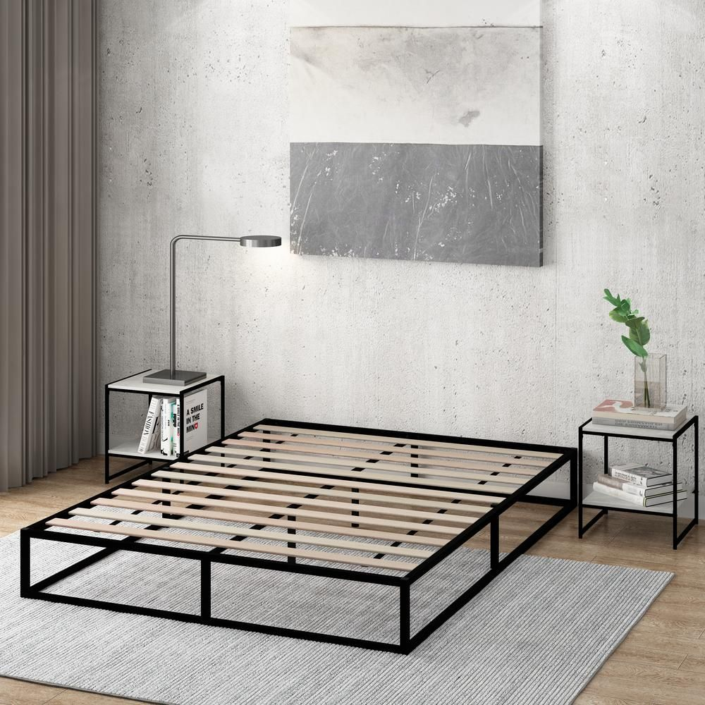 Furinno Monaco Queen Metal Bed Frame Foundation With Wooden Slats Fb3003q The Home Depot Simple Bed Frame Steel Bed Frame Black Bed Frame